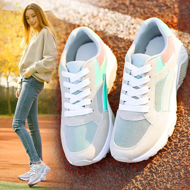 牛皮真皮运动鞋女韩版平底板鞋单鞋女夏季休闲鞋女鞋跑步鞋学生鞋