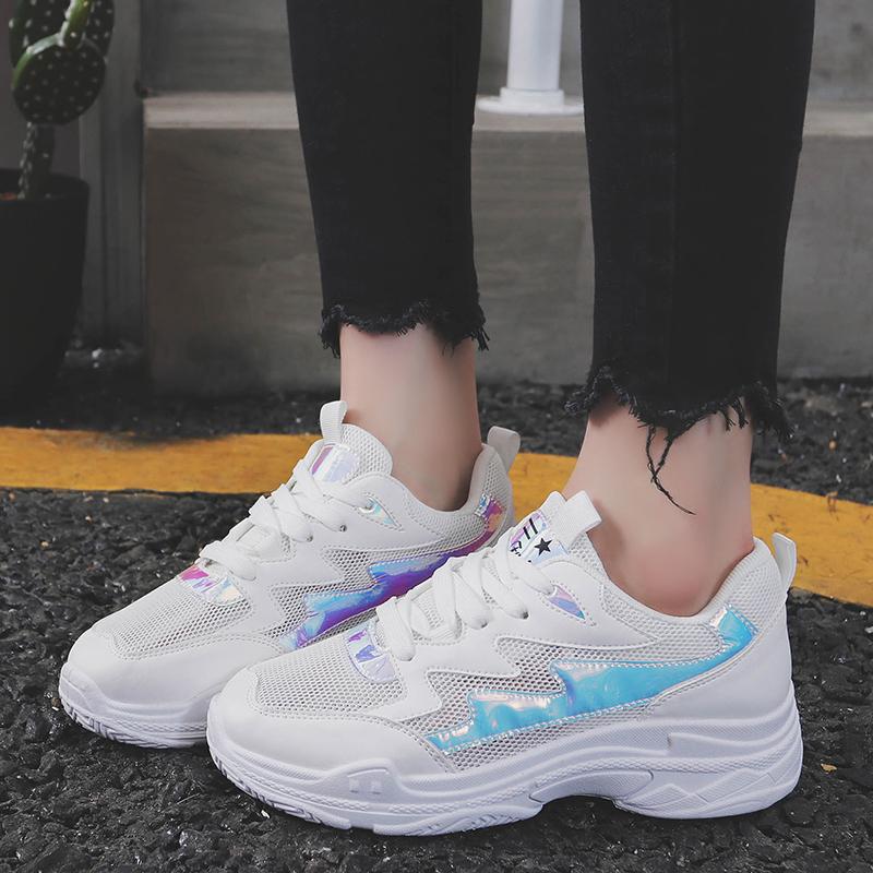 2018夏季新款系带跑步鞋韩版女鞋镂空透气运动鞋ins超火老爹鞋潮