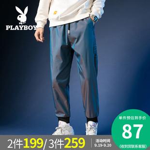 花花公子男裤2020秋季新款男装宽松运动裤束脚裤渐变色长裤子男潮图片