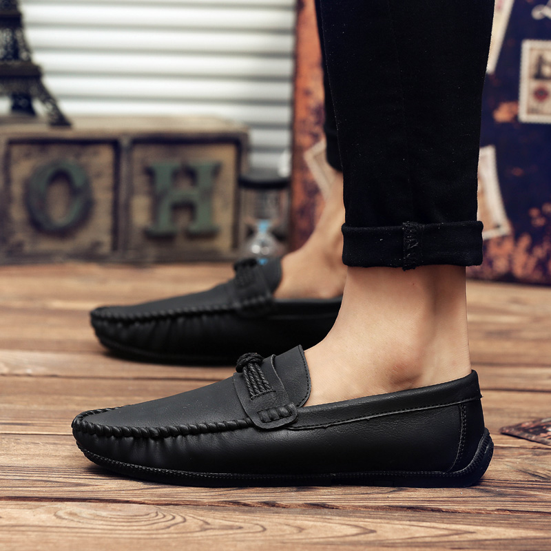 Spring Men's Driving Shoes Korean Trend Peas Shoes Fashion New Soft Soles  Casual Shoes Brown Lazy Shoes
