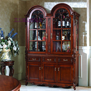 American side cabinet solid wood porch cabinet European-style residential furniture living room wine cabinet room cabinet glass display cabinet