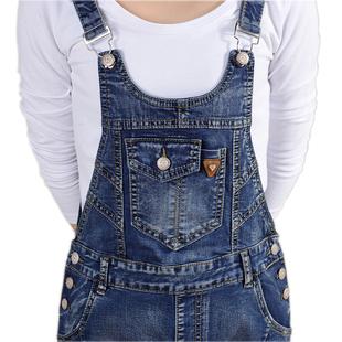 2020春秋复古新款高腰减龄两件套装连体吊带长裤女生牛仔背带裤女