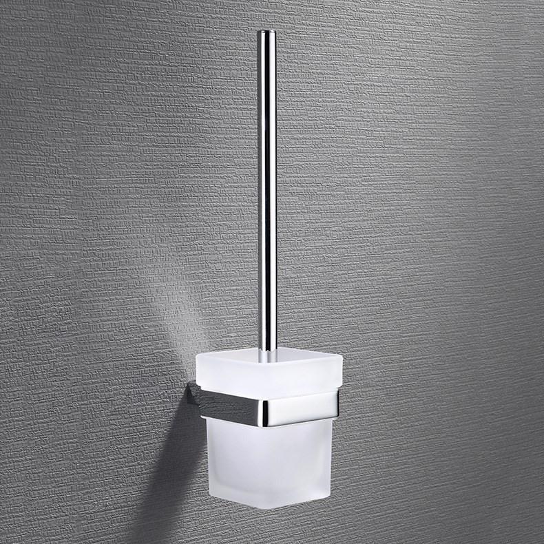 不锈钢马桶刷清洁刷厕所清洁刷方底座带磨砂玻璃杯卫浴五金挂件
