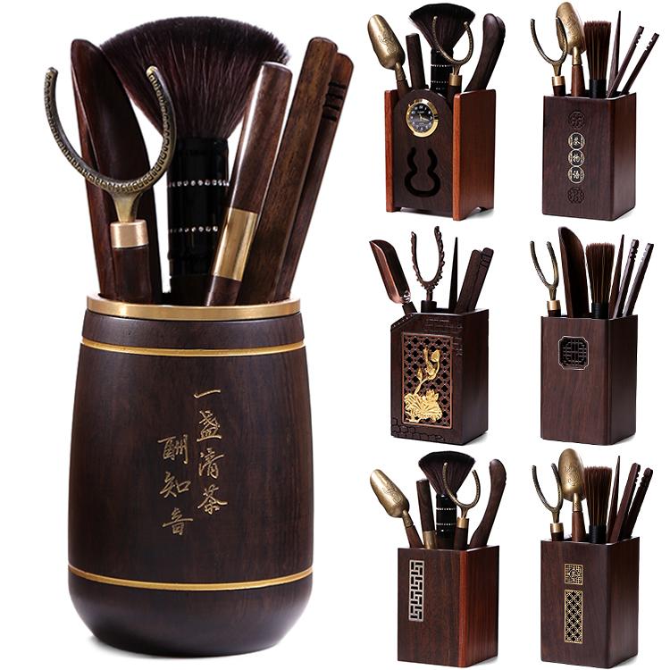 黑檀木六君子整套装竹制实木组合陶瓷青瓷功夫茶具茶道配件茶夹子