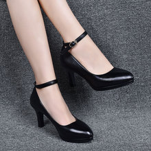 Single shoe female shoe middle heel waterproof table model cheongsam walk fine heel high heel new black leather shoes in autumn 2019