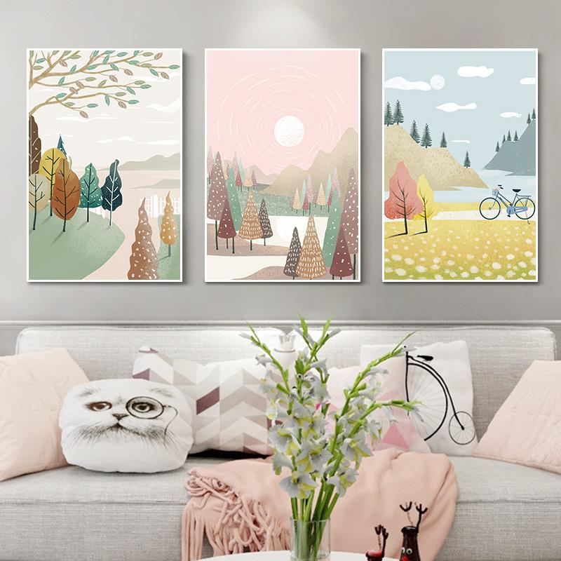 现代简约小清新客厅装饰画沙发背景墙挂画北欧风景插画卧室三联画