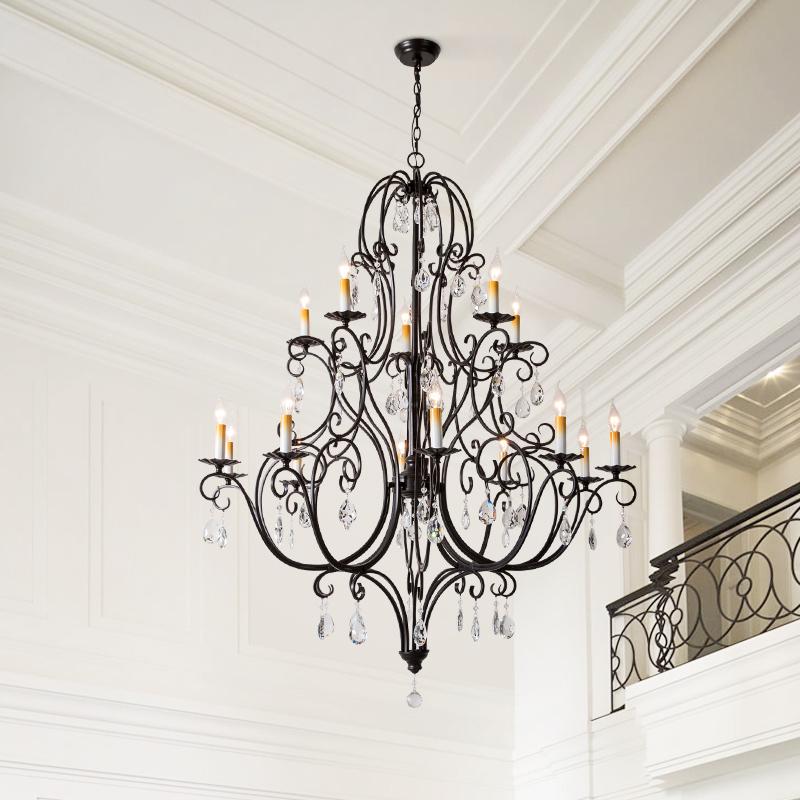 美式水晶吊灯客厅卧室大气网红店铺铁艺别墅复式楼大厅楼梯长吊灯-玺域灯饰