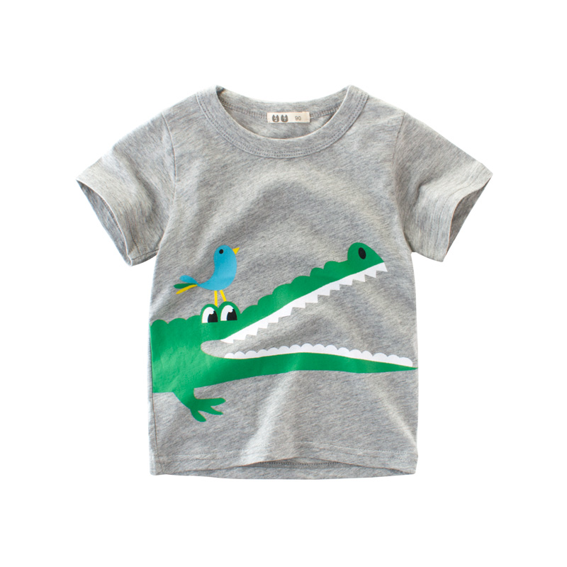 童装男童短袖T恤2018夏圆领卡通印花宝宝纯棉T恤薄款上衣