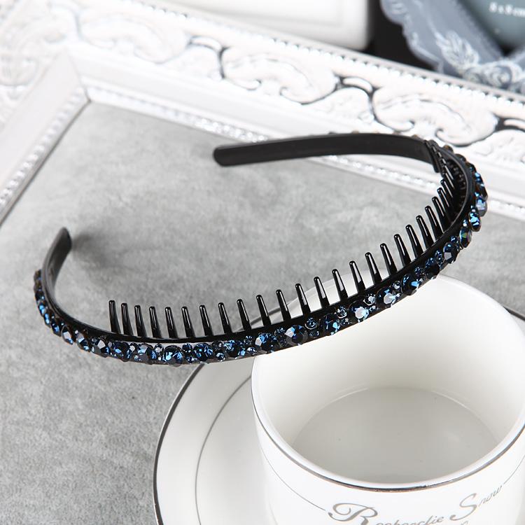 韩国成人带齿梳防滑水钻发箍细款水晶发卡女简约刘海镶钻头箍压发