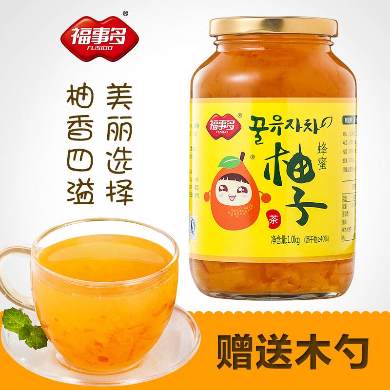 福事多蜂蜜柚子茶1kg罐装 冬季热饮韩国风水果茶泡水喝的冲泡饮品