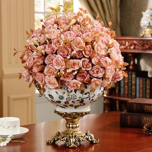 泽马欧式花瓶花器餐桌仿真花艺套装复古陶瓷电视柜摆件玄关装饰品