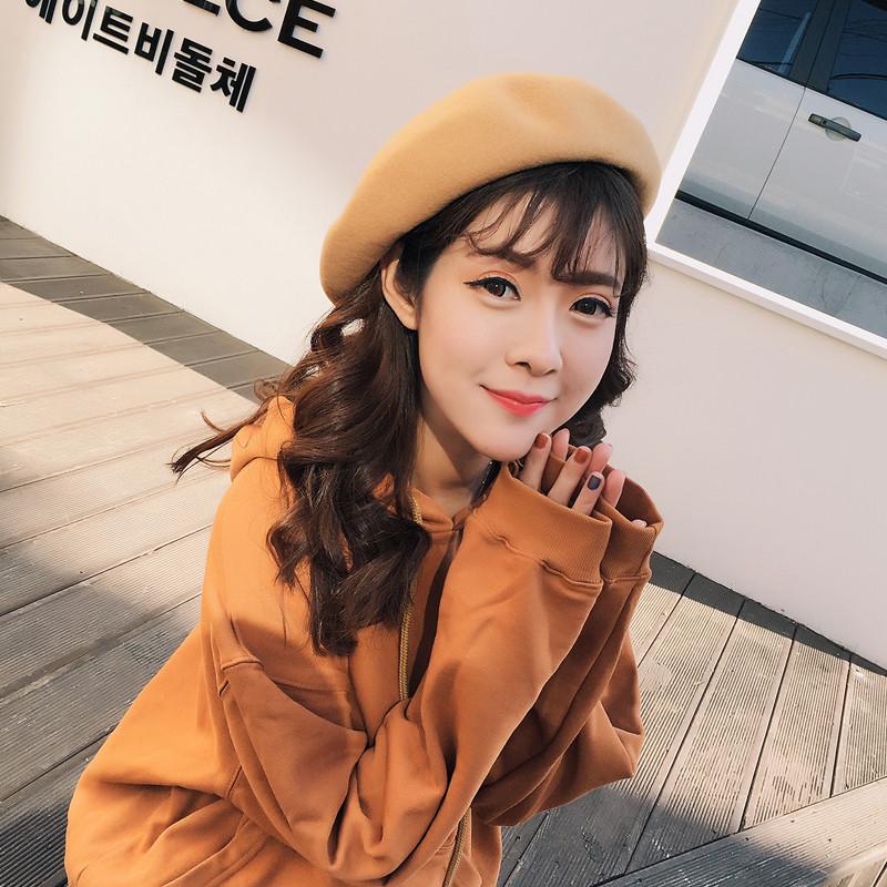 艾尤 羊毛贝雷帽女士秋冬季蓓蕾帽韩版文艺范帽子毛呢日系南瓜帽