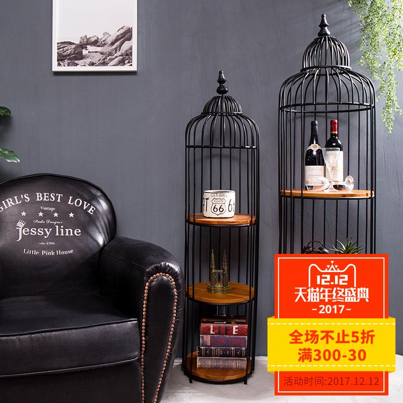 创意美式复古个性鸟笼置物架酒架室内落地家居装饰品摆件客厅摆设