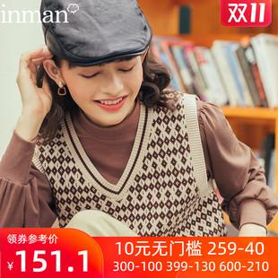 茵曼秋冬外穿英伦格子毛衣短款针织衫小背心女款森系马甲外搭叠穿图片
