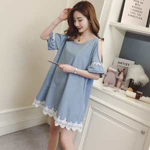 Summer maternity Korean version of the loose lace stitching denim bead a word skirt skirt fashion strapless short-sleeve