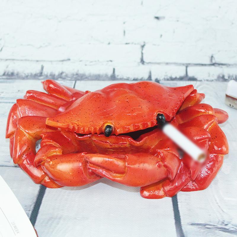 螃蟹带盖烟灰缸客厅办公桌创意摆件送老公父亲长辈个性情人节礼物