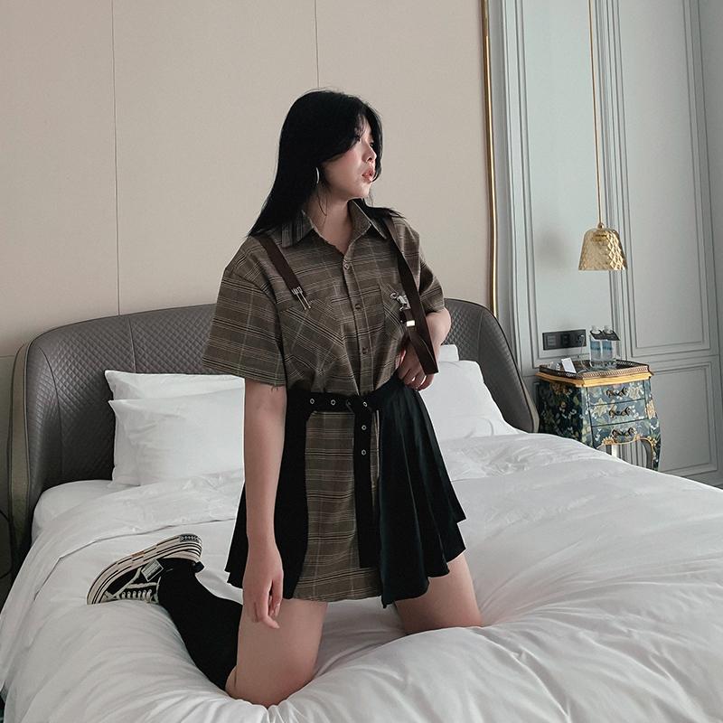 复古庄园大码格子休闲宽松衬衫绑带开叉工装百褶修身短裙两件套夏