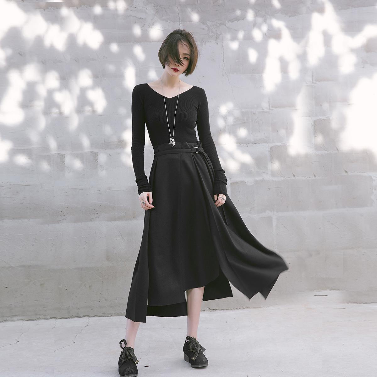 恋风/羊毛毛呢质感不对称腰头抽褶设计不规则裙摆A字半身裙