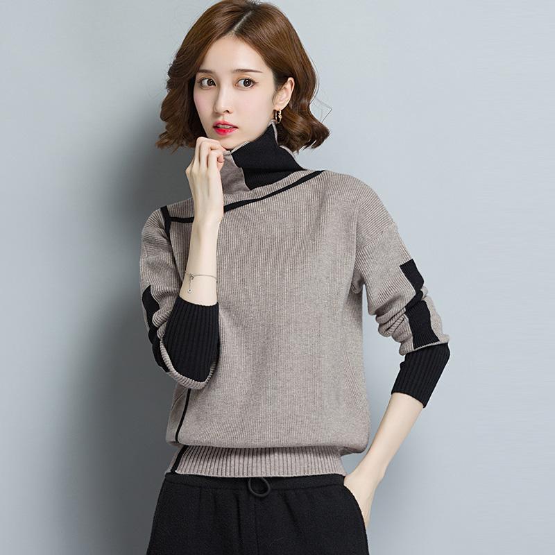 秋冬款高领毛衣女套头宽松短款长袖韩版百搭内搭加厚堆堆领打底衫