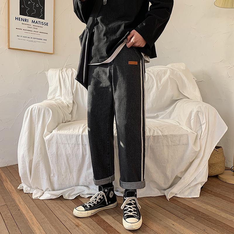 2020  港风ins潮流休闲 牛仔裤宽松直筒裤 黑色  A161-2-A801-P45