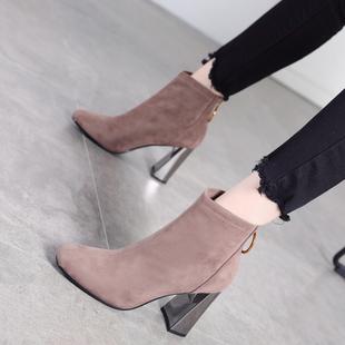 高跟马丁靴女2018新款秋冬季时尚绒面百搭方头粗跟短靴女加绒棉鞋