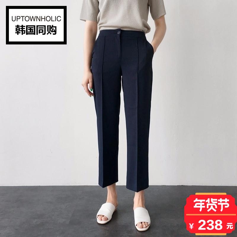 韩国正品Uptownholic2017冬季新款中线点缀直筒休闲裤