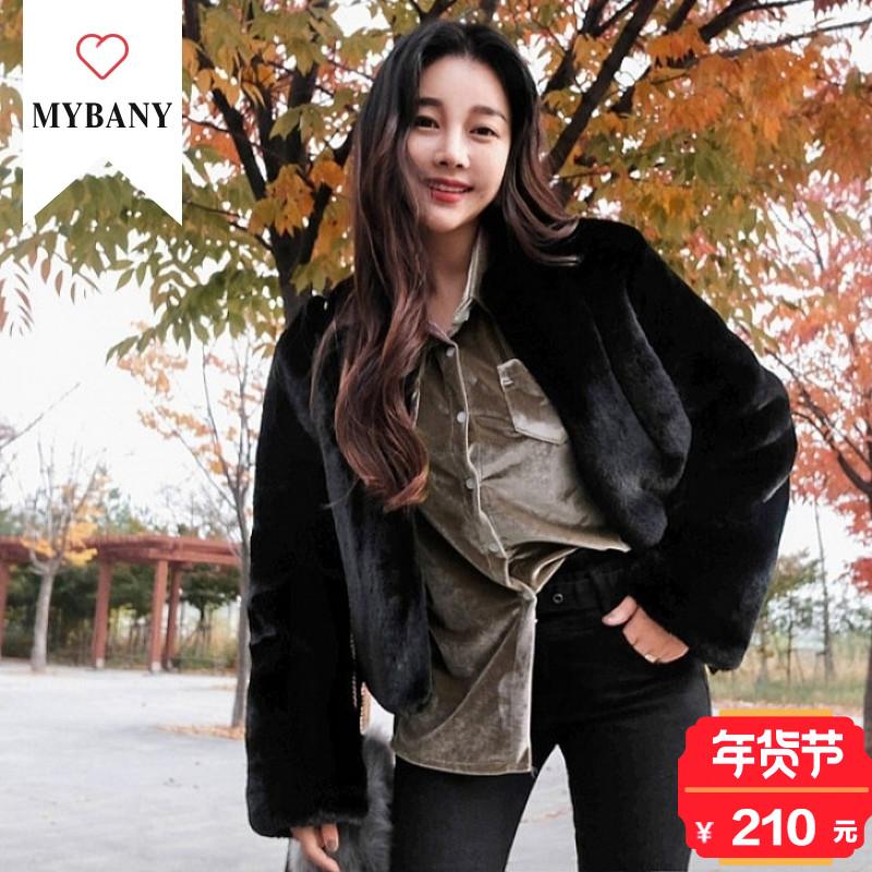 韩国MYBANY2017冬季韩版显瘦性感女装天鹅绒胸袋开衩摆衬衫