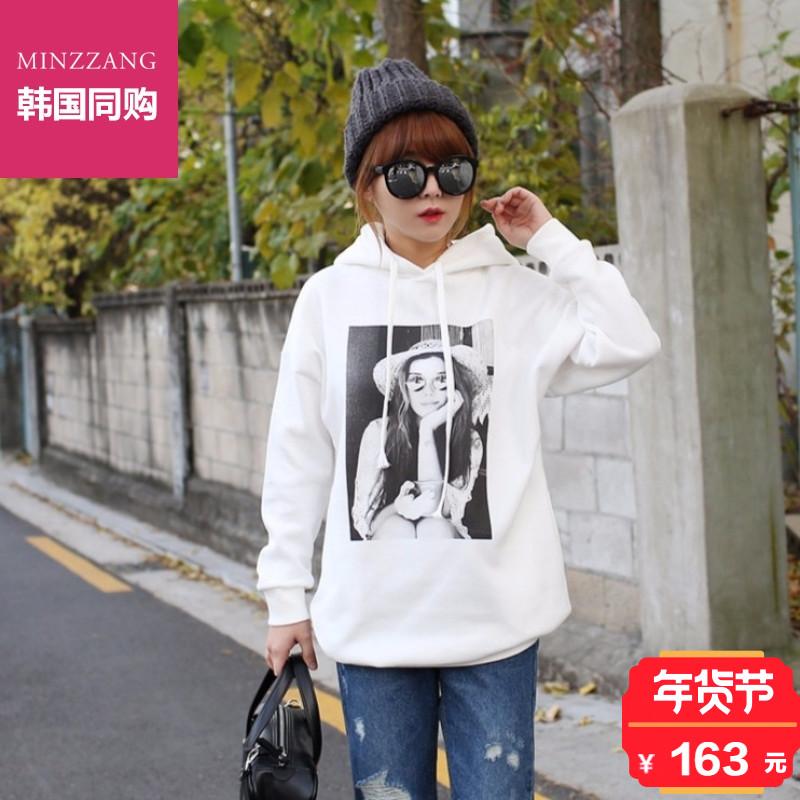 韩国正品Minzzang2018冬季大码女装人物图案拉绒连帽卫衣