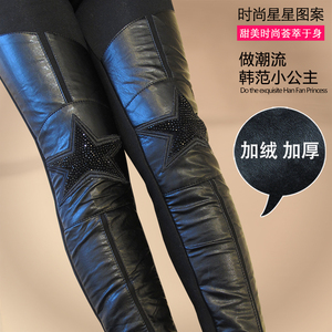 2019 autumn and winter girls plus velvet leggings in the big boy pu leather pants foreign style slim feet pants five-pointed star boots pants