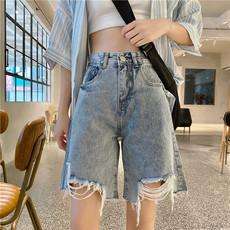 牛仔短裤女2020年新款夏季韩国原宿风宽松高腰显瘦直筒阔腿五分裤