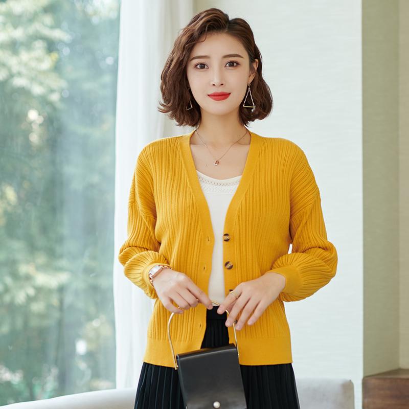 [鄂尔多斯 反季促销]秋装新款小开衫毛衣女针织衫宽松针织开衫