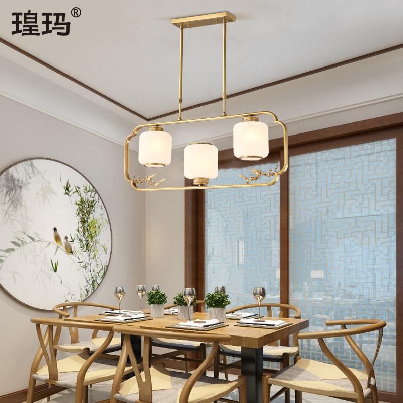新中式云石餐厅吊灯全铜灯现代简约大气茶室灯创意长方形书房灯具-瑝玛旗舰店