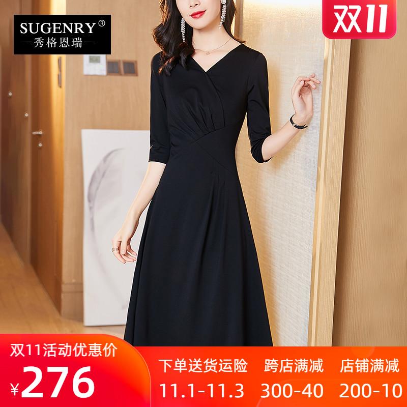 新款女装2020款连衣裙秋装显瘦气质赫本小黑裙礼服长裙子连身裙子