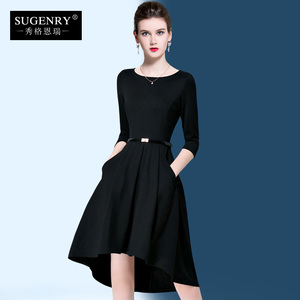 2020 spring and autumn new women's black dresses can usually be worn thin black dresses banquet evening dresses