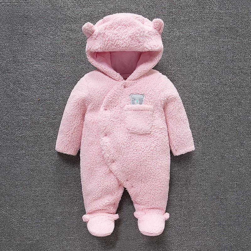 新生儿冬季女宝宝外出抱衣加厚婴儿连体衣服秋冬装套装连脚0个月3