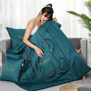 水洗真丝刺绣轻奢纯色抱枕被子两用夏凉空调被车上靠背沙发床枕头