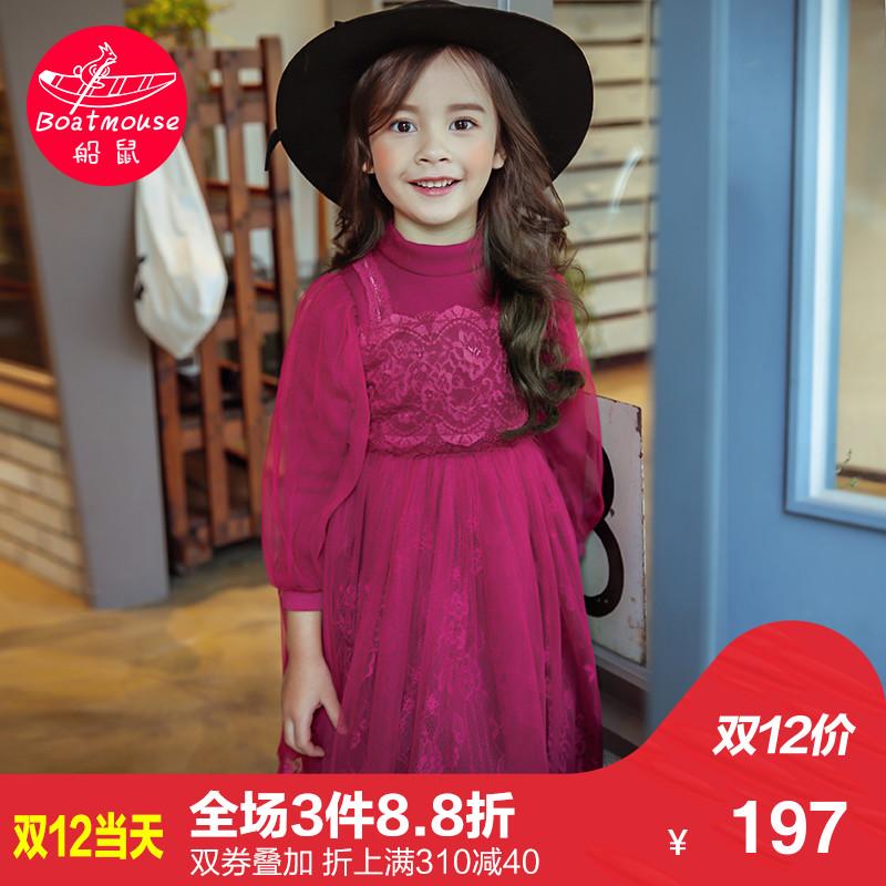 船鼠女孩加绒裙子 蕾丝秋冬长袖 儿童冬装女公主裙女童冬季连衣裙