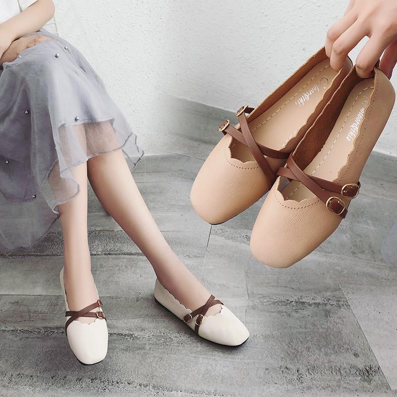 春夏季豆豆鞋女2018新款平底单鞋方头奶奶鞋浅口玛丽珍鞋春秋仙女