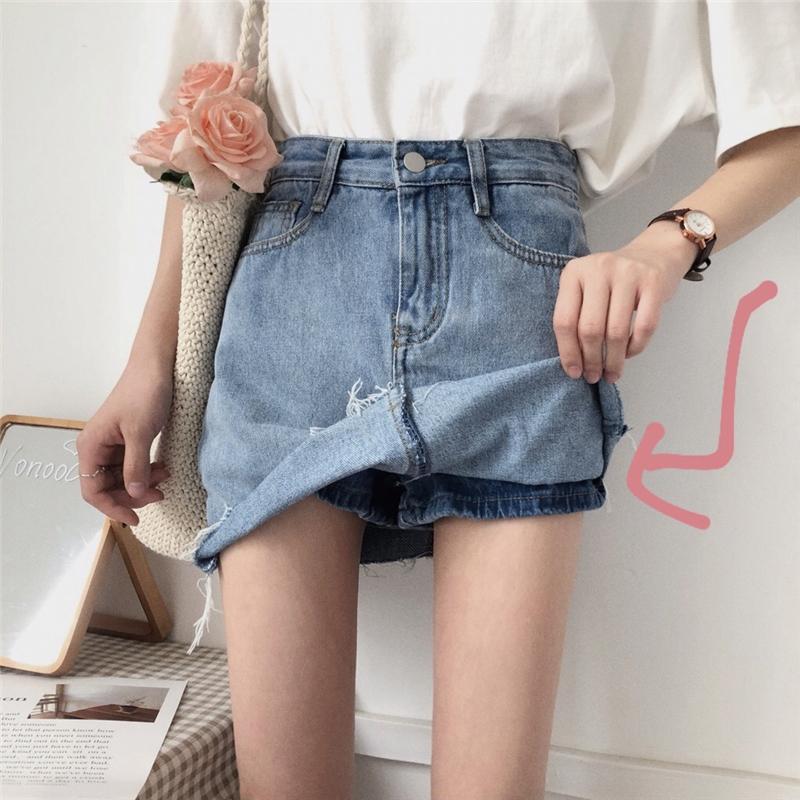 春秋韩版高腰显瘦做旧A字裙裙裤牛仔裙半身裙2018新款短裙裙子女
