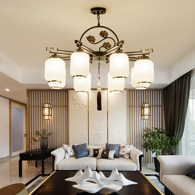 新中式简约客厅吊灯创意餐厅中国风大气家用led别墅书房卧室灯具-依维特旗舰店