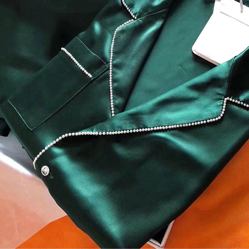 真丝睡衣女夏季可外穿两件套高端丝绸绿色冰丝长袖家居服套装春秋