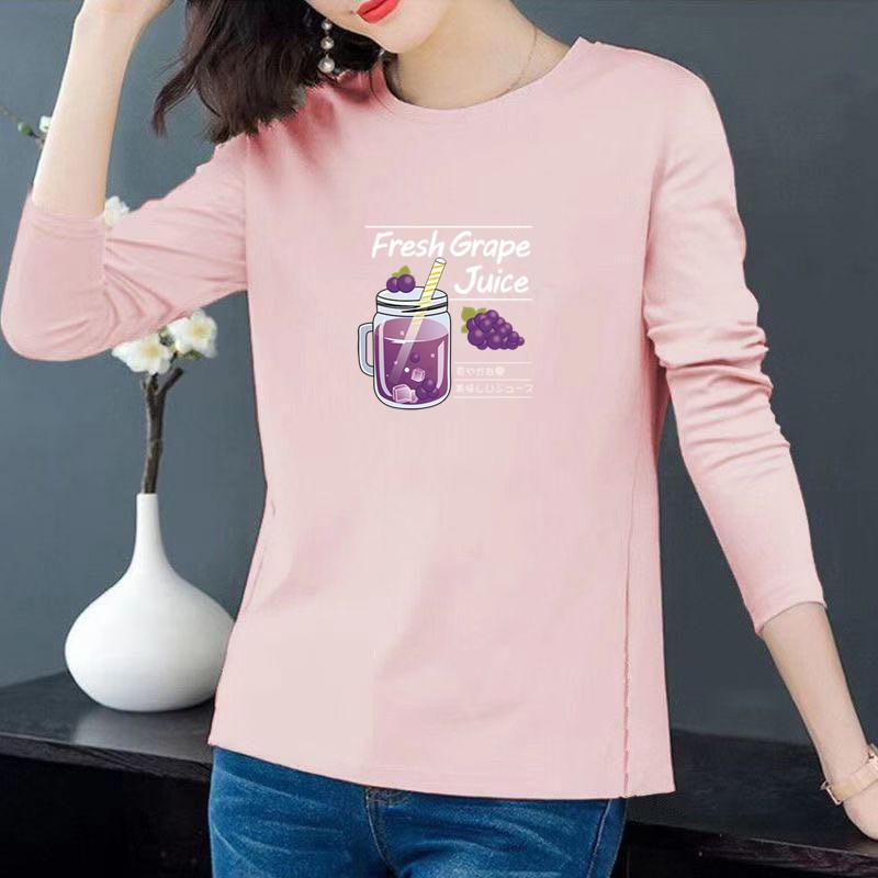 葡萄杯#【32支100%棉180G】彩色秋季新款长袖韩版T恤女 -