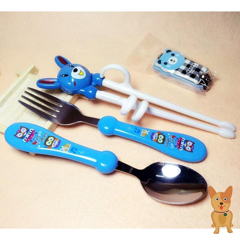 宝宝筷子小孩吃饭家用餐具套装用的勺子叉子儿童两岁学抓学用