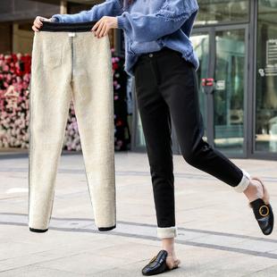 加绒休闲裤女秋冬高腰工装裤宽松外穿萝卜裤加厚九分哈伦裤女西裤