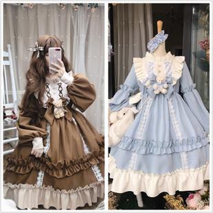 逗酱原创Lolita咖啡泰迪熊doll感浓浓春季可爱复古长袖收腰连衣裙图片