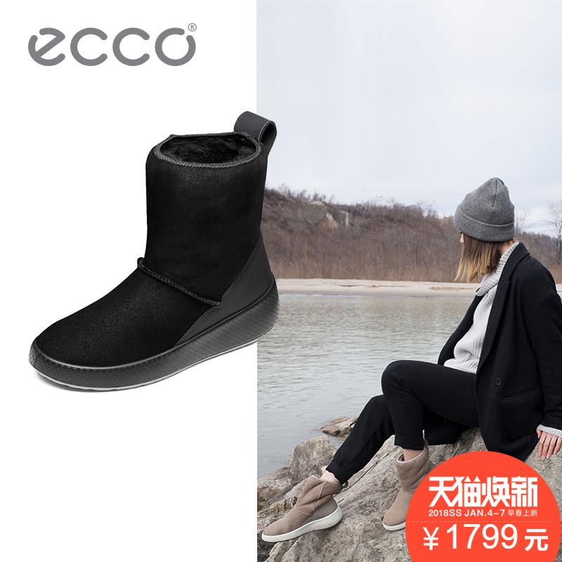 ECCO爱步冬季休闲牛皮中跟女鞋圆头套脚保暖雪地靴 暖冬221003