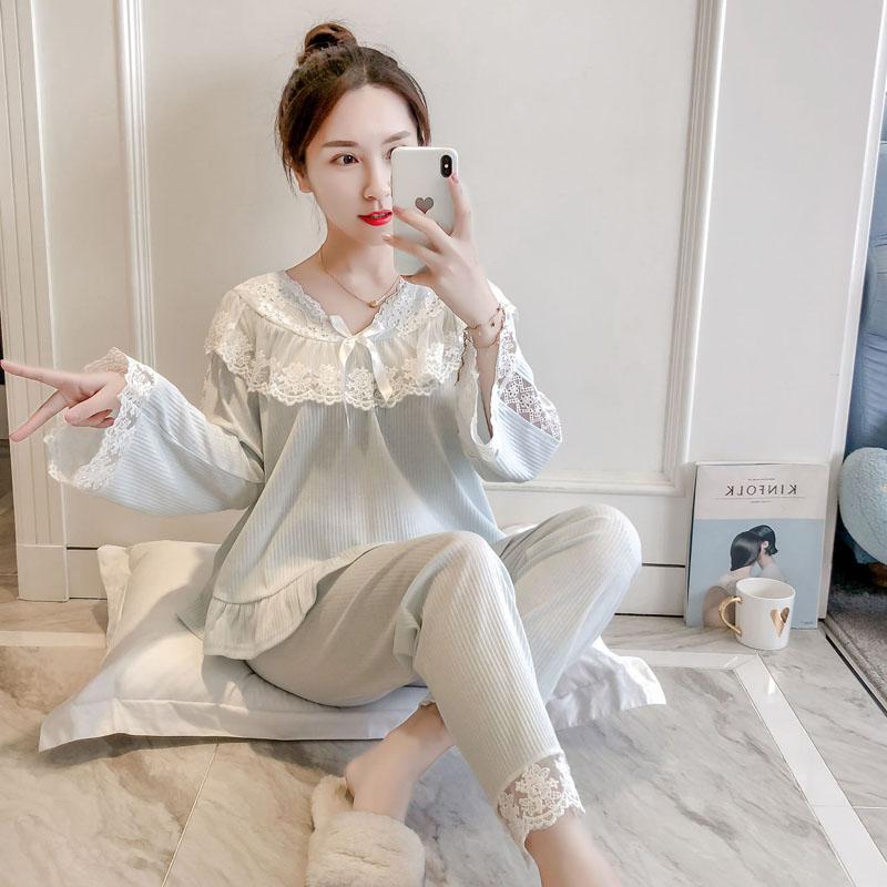 韩版睡衣女秋长袖纯棉女士套装长裤蕾丝公主睡衣套装休闲大码宽松
