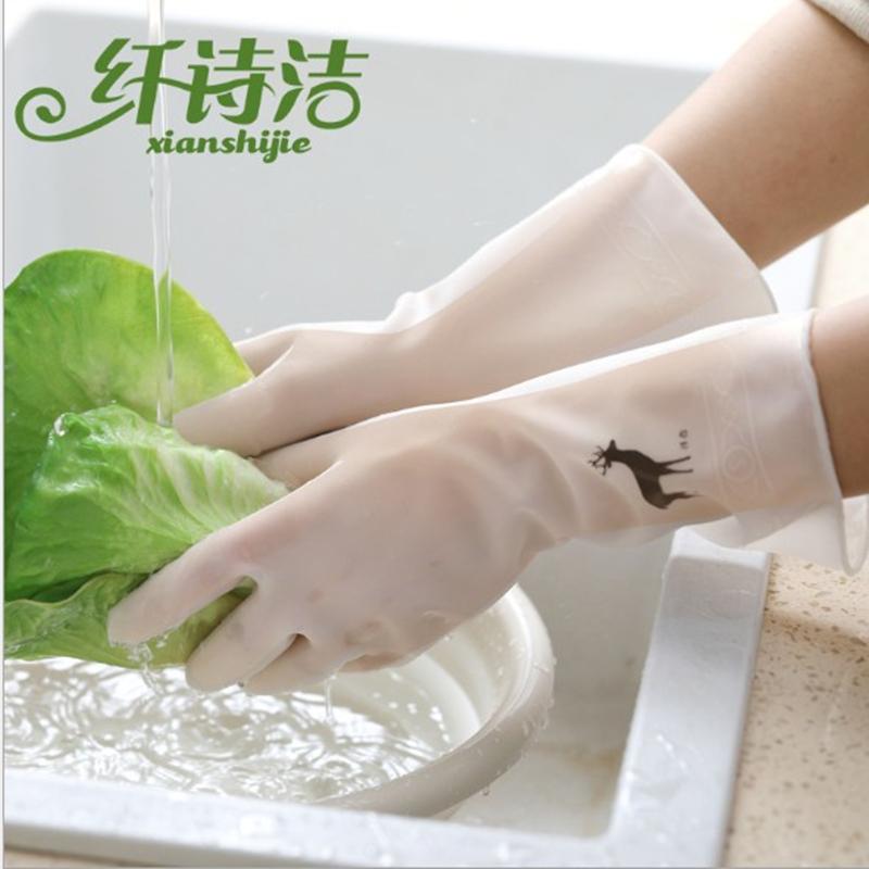 厨房洗碗手套女胶皮洗衣服家用防水耐用薄款贴手家务清洁防护手