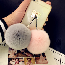 ins新品韩国超大獭兔毛球手机挂件cm14绒可爱nk饰包包挂件
