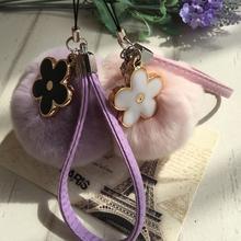 韩国创意獭兔毛yo4手机挂件ng包包挂饰可爱毛绒球花朵皮绳款